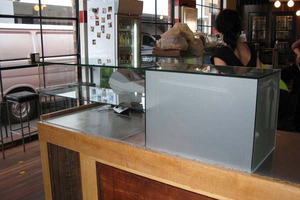 Cafeteria glass cabinet