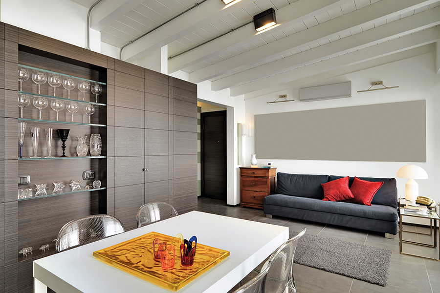 modern living room with glass work