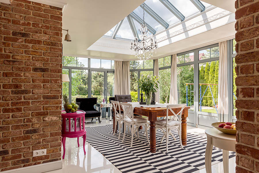 Dining room with glass windows